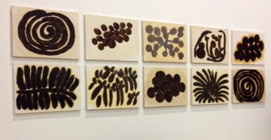Solange Pessoa, jenipapo pigment annatto, flax on paper