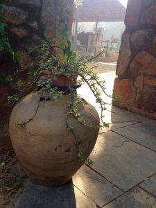 Ceramics studio in background