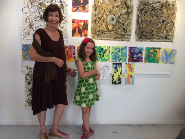 With a young friend, also displayig her art, during my open studio at Moulin à Nef, Auvillar.