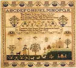 Sampler worked by Catharine Ann Speel in silk on linen, 1805, Philadelphia
